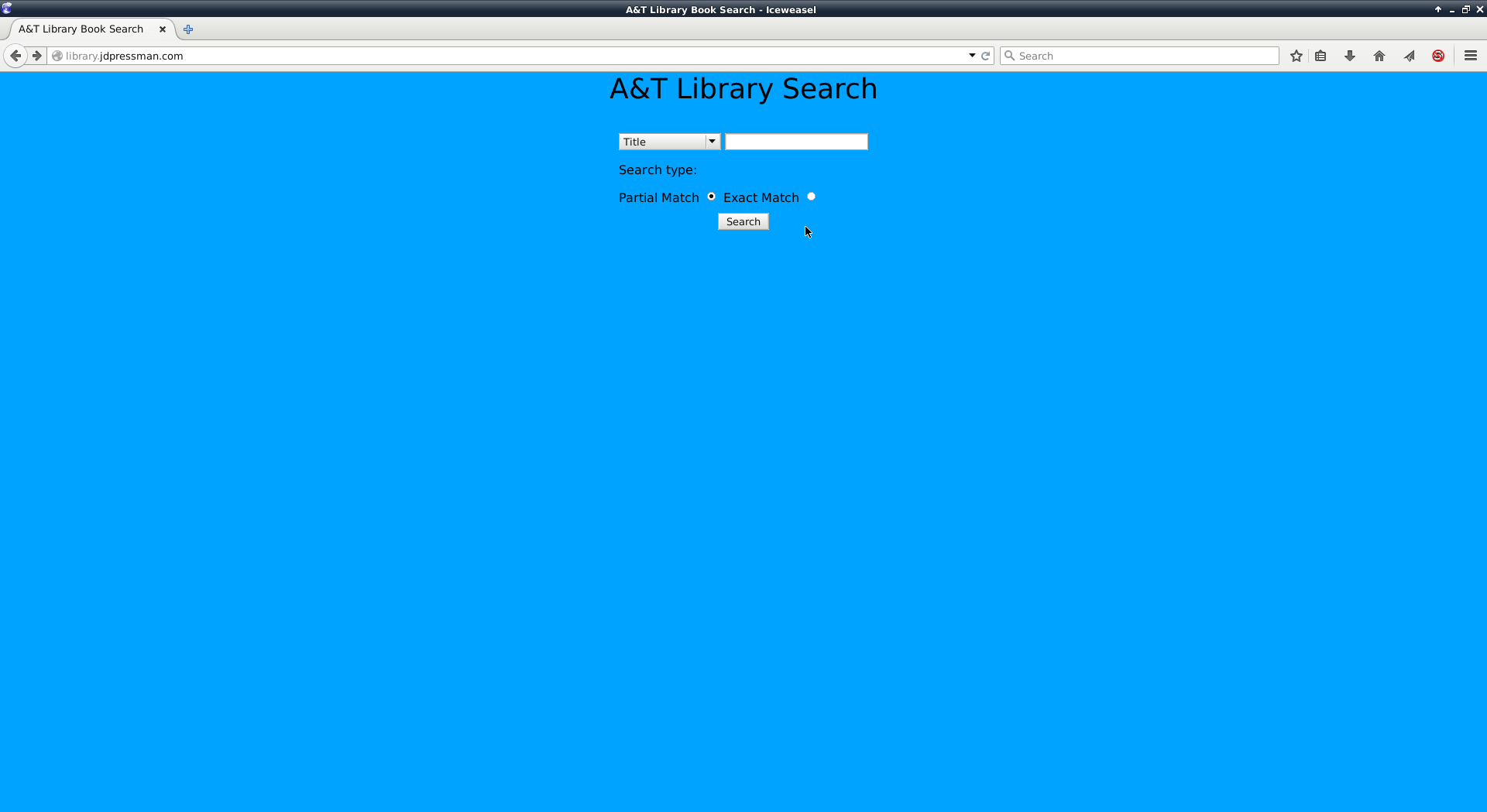 Screenshot of the search page.