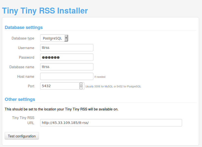 Tiny Tiny RSS Install Database Screen
